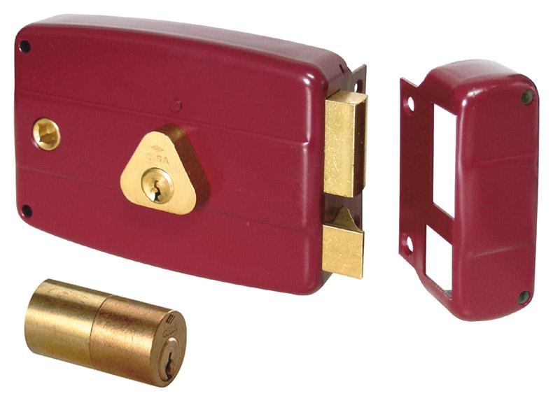 Serrure à appliquer avec le manche peint e.60 sx peint en rouge - cisa