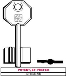 CHIAVE GREZZA DOPPIA MAPPA 5PT3 (G.18) - POTENTE,ET,PREFER - SILCA