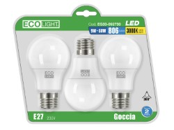 Ecolight LAMPADA A LED GOCCIA E27 BLISTER 3 PZ. luce calda 12 W