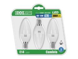 Lampada led candela 6w e14 luce calda - blister 3 pezzi - ecolight