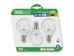 Ecolight LAMPADA A LED MINI GLOBO E14 BLISTER 3 PZ. luce calda 6 W