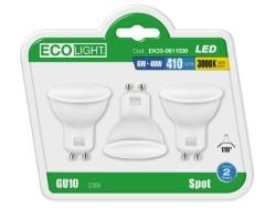 Ecolight LAMPADA A LED SPOT GU10 FASCIO 110° BLISTER 3 PZ. luce calda 6 W