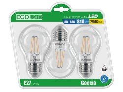 Ecolight LAMPADA A LED GOCCIA FILAMENTO E27 BLISTER 3 PZ. luce calda 8 W