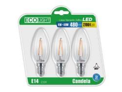 LAMPADA LED CANDELA FILAMENTI 4W E14 - LUCE CALDA - BL.3 PZ - ECOLIGHT