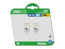 LAMPADA LED BISPINA 1,5W LUCE CALDA BLISTER 2 PEZZI - ECOLIGHT