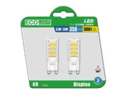 LAMPADA LED BISPINA 3,5W LUCE CALDA BLISTER 2 PEZZI - ECOLIGHT