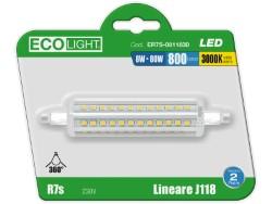Ecolight lampada a led lineare r7s blister 1 pz. luce calda 8 w