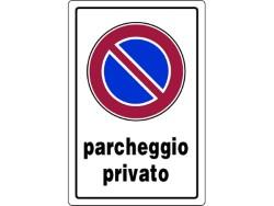 CARTELLO SEGNALETICO PLASTICA PARCHEGGIO PRIVATO CM.20X30