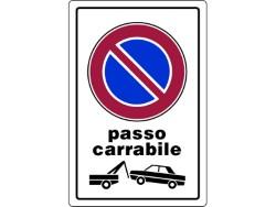 CARTELLO SEGNALETICO PLASTICA PASSO CARRABILE CM.20X30