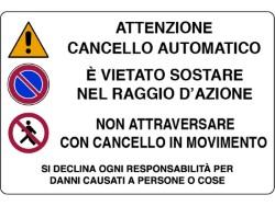 CARTELLO SEGNALETICO CANCELLO AUTOMATICO 30x20 IN PLASTICA