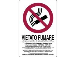 CARTELLO SEGNALETICO PLASTICA - VIETATO FUMARE - CON LEGGE