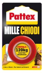 """NASTRO BIADESIVO """" PATTEX MILLE CHIODI """" MT1,5X19MM - 12 ROTOLI"""